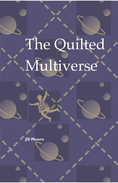 The title shows diamond-shaped squares on what might be a quilt, with a ringed planet in the centre of each square, as well as a few other heavenly bodies, one of which seems to be an angel. The title is large, white and lower case in the top third. The author's name very small and white towards the bottom.