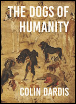 The jacket features a detail from a full cover painting -- this covers the whole cover. It shows dogs, many different shapes sizes and colours and there seems to be a dead one with bleeding innards lying in the middle. The title is very large sans serif caps that occupies the top 25% or more. The author's name is much smaller and at the foot of the jacket. Both pieces of text are right justified.
