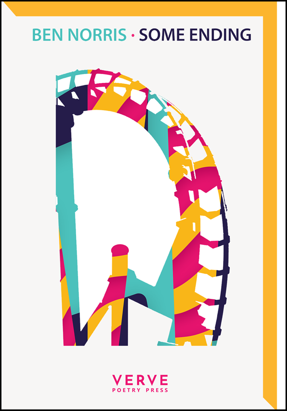 The pamphlet is white in background with foreground imagery in the trademark Verve Press colours of black, bright pink, mustard and turquoise. There is a mustard strip across the top and down the right  hand side. In the middle a slightly abstract image of what looks to me like a ferris wheel in different colours. The author's name and title are on the same line centred an inch from the top. The author's name (all is small sans serif caps) in turquoise, then a bright pink dot, then the title in black. Centred at the foot is the imprint title in pink caps.