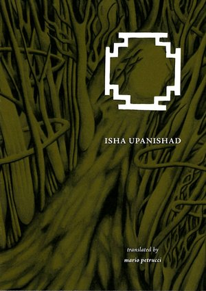 The cover displays a dark green design made of dense tree branches and roots. There is a large white symbol outlined top right: roughly square but with four zigzag corners. Below this the title in small white caps (much less noticeable than the symbol). Bottom right corner in italics the words 'translated by' and then below this in small bold italics the name of the author, all in lower case.