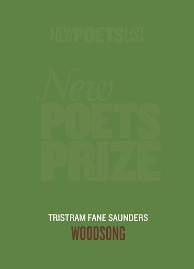 The cover is woodland green. The words NEW POETS PRIZE in giant caps are watermarked behind the green, just visible. Two inches from the foot of the cover the poet's name appears centred in light caps -- perhaps a beigish colour. Below this the title of the pamphlet appears, also centred, in larger caps of a browny-reddish colour