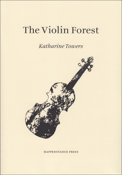 The jacket is cream with black lettering, all of which is centred. The title comes first, lower case and fairly large. Below this the author's name in italics. The name of the press is in very small caps at the foot of the page. In the middle there is a large graphic, a drawing of a violin which is decorated all over with branches and leaves.