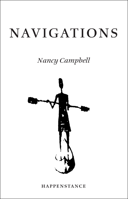 The jacket is cream with text and illustration black. The title (NAVIGATIONS) is centred in the top two inches, taking up most of the width of the A5 cover. Below this, also centred, the author's name in much smaller italic lower-case. Below this is a large image of a kayaker standing in a boat, her paddle held sideways. The publisher name is in very small caps centred at the foot of the page.