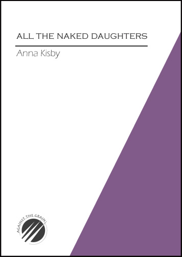 The jacket is A5. A purple isosceles triangle colours the right hand corner and reaches nearly, but not quite up to the top corner. On the left hand (white) side of the cover, the title of the pamphlet appears in smallish black caps (very neat) in the top fifth. Below this a bold black line. All is justified left, including the name of the author in paler, smaller lower case, below the line. There is a logo in the bottom left corner, a black circle with what look like three white icicles or spears pointing up through it from left to right. It is too small in this image to work out what it is doing, though there is some lettering on the outside of the circle, probably the name of the press.