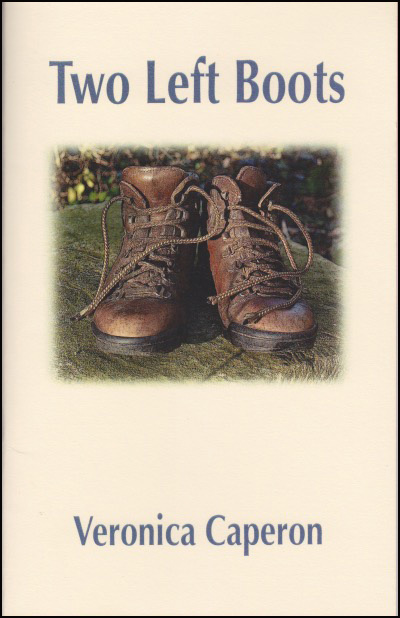 The cover of the pamphlet is cream coloured with the book title in large lower case blue print in the top quarter, and the author's name in smaller lower case in the bottom eighth. A large photograph of a pair of walking boots, a normal pair with right and left, is lifted into the cover in the middle approximately and the outline of the photo blurs into the rest. The boots are brown, and on what looks like grass.