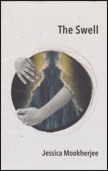 Cover jacket with a white background. Title, black lower case is justified right at the top. Name of poet underneath it right down at the bottom, again right justified and black. In more or less the middle or just below of the pamphlet, there is a full colour graphic. It is circular and shows a woman's belly, I think, with her left arm across it and cupping what I imagine is a pregnant swell, and the other hand cups at the top. Her belly is covered by blue folds of material and another cover laps across the sides -- a jacket or cardigan maybe. You can't see any more of her than is revealed in this circle.
