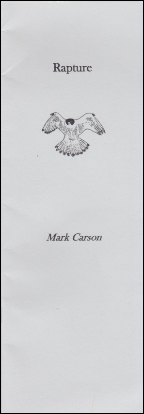 Jacket of very tall long thin pamphlet. Title, Rapture, in black lower case about two inches down from the top. Below that a black drawing of a hawk hovering. About two and a half inches below that the author's name, centred, black italics, a little smaller than the title. The background colour is grey.