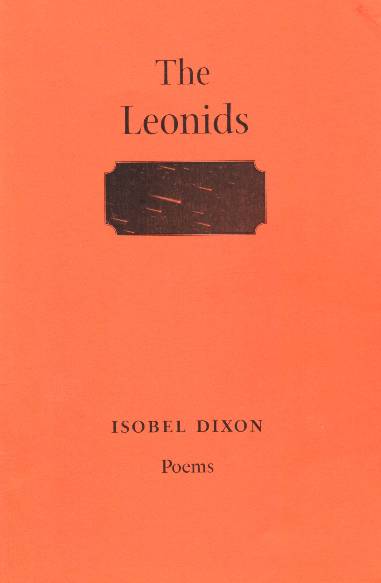 Cover of pamphlet which is a sort of sandy orange colour with black print. the title is lower case and centred at the top with a rectangle below it. When you examine this closely -- it is black with white streaks -- you can see it is a meteor shower. The author's name is in small caps towards the bottom of the page, with Poems, lower case, below that.