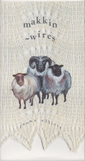 Front cover of pamphlet showing a centred title, lower case (makkin-wires hyphenated) and then a ram with curling horns and a smaller sheep to right and left of him. All is on a background of a lace shawl in creamy colour.