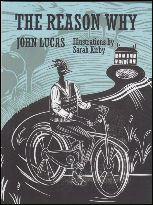 Front jacket of the pamphlet showing a lino cut of a man on an old fashioned bicycle. He is wearing a sleeveless, v-necked jumper in an old knitted silt, with an open necked shirt under it. He sits up with his hair blowing backwards and his handlebar moustache merrily flying sideways. The sky is pale blue. Everything else is black and white. It is very striking.