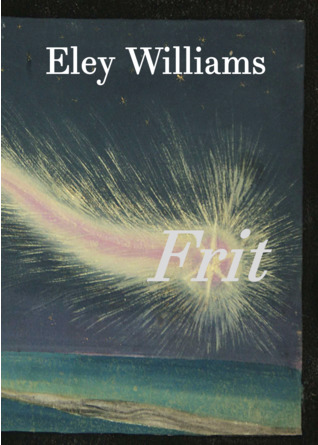 The jacket is in full colour but dark, showing hte night sky with possibly a hillside bottom left. The author's name is in large lower case white letters centred at the top. The main feature of the cover is a comet-like trail of fire coming in from the left and culiminating (or exploding) in the word FRIT in lower case white italics, positioned just below the middle and near the left side of the jacket. No other text is featured.