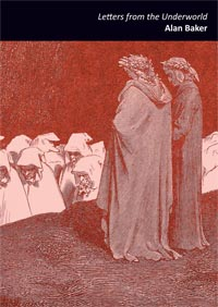 A6 jacket. A two inch black band at the top contains the name of the pamphlet, in lowercase italics, and beneath this the name of the author bold lowercase. This text is right justified and white. The whole of the rest of the jacket is an illustration with a kind of red/sepia effect. Two men in long robes on a ledge are watching a long line of people with lowered heads and hoods troop past them. This apparently draws on a Dore illustration of the Inferno.