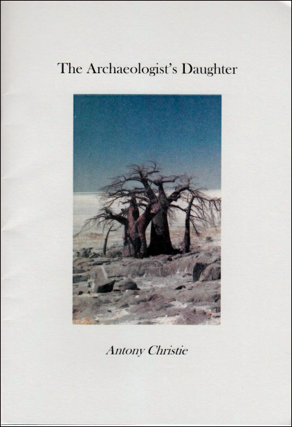 The jacket is pale offwhite with a long rectangle in the middle containing a full colour photo (I think it's a photo not a painting) of stocky trees in a small troup, fat trunks, thin branches, no leaves. I think they are baobab trees in a dry landscape, long baked grass a big sky and some white cloud. The pamphlet title is above this, centred, in black lowercase. The author's name occupies the same position but below the rectangular image and smaller and italics.