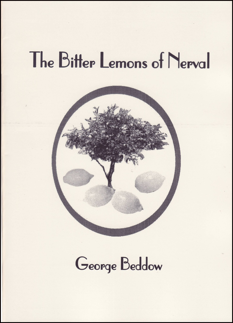 Background colour is cream. Title of collection is in a large bold lower case, with main words having a leading capital. All text is centred in top quarter of the jacket. Below it is an oval shape, inside which is a tree and four disproportionately large lemons at its base. The author's name is centred in small black lower case below this.