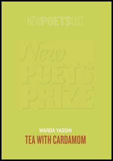 The jacket is lime green, with the giant words 'NEW POET'S PRIZE' watermarked into the green, so you can just about see it. At the foot of the jacket, which has no other imagery, the title of the pamphlet appears, centred in fairly small orange caps. Above it the name of the author appears in white (or at least a paler green -- it's not actually white), in very small sans serif caps