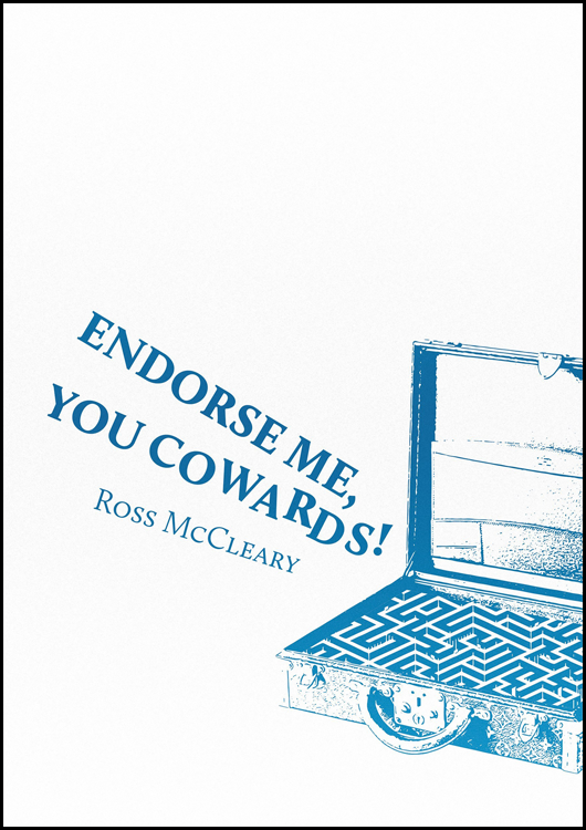 The jacket is white, which graphics and text in blue. THe graphic shows a briefcase with the lid open on the right hand side of the bottom half of the jacket. Inside the brief case is a maze. Coming out of the briefcase at a curved angle, like music, is the title of the pamphlet on two lines. The lines are in bold uneven caps. Below them, also at a curved angle, is the author's name in regular lowercase font, quite small.