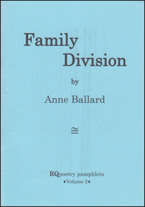 A very plain blue jacket, thin paper (you can faintly see print showing through from the other side. The pamphlet title is in very large bold lowercase, one word per line with Division beginning under the 'l' of Family. Below this 'by' very small and below that, centred, the author's name quite small. There is a logo below this (all text in black) and the imprint name centred very small at the bottom.