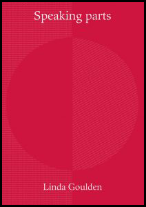 The jacket is a bright pillar-box red, but it has a kind of wallpaper pattern inside that red, which appears textured. So this creates a huge circle in the middle, divided into two halves (different textures). But the circle is subtle: you don't immediately see it at all. Above the circle the title of the pamphlet appears in large lower case white regular font, centred. The author's name is centred in the same white font below the circle, so both sets of letters are at the very top and the very bottom of the jacket. There is no other imagery or lettering.