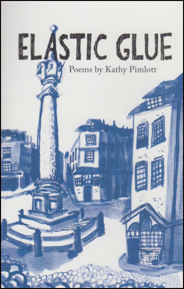 The jacket is blue and white, with the main title of the book in large black caps, in a handwriting style. There is a picture of a village, with the central square and an obelisk with steps. Then three end of row house fronts and the row of houses stretching away behind them. Very pretty. Below the large title, which nearly fills the width of the cover about two inches form the top (in the sky on the picture) there are smaller words in blue, much smaller. They read Poems by Kathy PImlott, lower case.