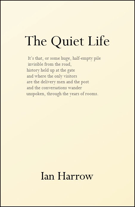 The jacket is dead plain, cream colours. The title is centred in lower case black font large about two inches down. Below it the whole (I think) of the poem by that name, which is also inside. The author's name is centred at the foot of the cover in bold black lowercase font.