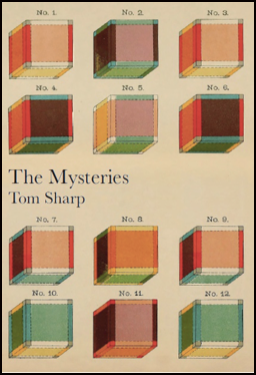 The title is just about bang in the middle, left justified in black lowercase. Below that the author's name, same font but smaller, also left justified. Above and below the text are six coloured cubes numbered from one to twelve. There are three cubes in each row. Colours from left to right are orange, purple, orange. Dark red, pink, dark red. Red, orange, red. Green, purple, green.