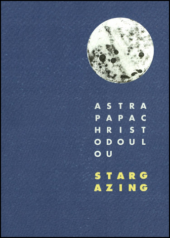 The A5 jacket is on a textured, bumpy card, dark blue. All imagery and text is to the right in about one third of the vertical area of the jacket. First an image of (I think) the moon, perfectly circular and white with black blotches. Then a set of fully justified spaced caps which turn out to be the author's name. There are four lines of five letters and a short line holding the last two: OU. Then a little gap and the title of the pamphlet in bold yellow caps (all lettering is slabbed sans serif). There are two lines this time, the first of which reads:  S T A R G and the second A Z I N G. This reflects some of the techniques of the poems inside the pages.