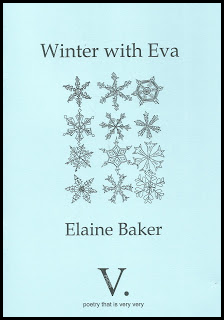 The jacket is very pale blue. There's a large oblong in the centre (long, and vertically placed) containing snowflake designs in black, each different from the next. All text is also in black. The title is centred at the top, above the snowflakes in large lower case. The author's name is centred in letters of roughly the same size just below the snowflakes. The only other marking on the cover is the signature giant V. of V.press, centred at the foot of the jacket.