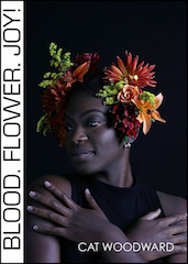 Seven eights of the cover is a black and white photograph of a beautiful young woman of colour, head and shoulders. Her hands are open wide, her arms crossed, her fingers touching her shoulders. She is looking to one side (to the reader's left). Her expression is serene but unsmiling. In her hair on both sides she has lavish floral arrangements, and these are in full colour, green and orange and yellow. The author's name appears in small white caps bottom right on the photograph, which does suggest it is a picture of the author. A vertical white stripe, taking up about one eighth of the jacket, occupies the left hand side of the jacket. The title is on this stripe, running vertically from bottom to top. The letters are large and I think dark grey. They take up the full width of the stripe.