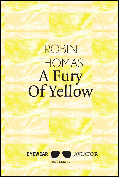 All text is centred in black. First the author's name, one word per line, in thin caps. Below this, in a larger, bolder lower case, the title over two lines. The publisher's name and Aviator series logo of a pair of dark glasses is right at the foot of the page. The background is a yellow wall-paper type design, which, on this screen at least, looks like an abstract repeating design.