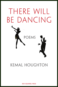 The jacket is white. The title is in large thin sans serif caps, bright red, and centred in the top quarter, two words per line. In the middle there is a silhouette of a man and woman dancing what looks like the Charleston -- a period dance anyway. Between the two dancers the word poems in small black caps. Below the dancers the author's name in slightly larger black caps. All text is centred. The name of the press is centred at the foot of the jacket in tiny red caps.