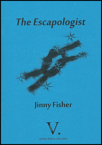 The jacket is bright blue with all text and imagery black. The image at the centre is of some kind of rope tied in a granny knot (this features in the title poem). There are little star shapes around the note, so it looks magical. The collection title is centred in black lowercase italics at the top of the jacket. The author's name, in a smaller regular lowercase type is below the granny knot. The publisher's logo, a large V plus dot is centred at the foot of the jacket.