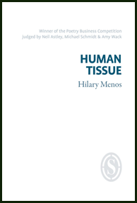 The jacket is pure white. All text is right justified. The author's name (grey) is just above the middle, in a seriffed lower case. Above this the title (HUMAN TISSUE), one word per line, in fairly big (but not huge) sans serif caps of bright blue. The title is in the top third, just above