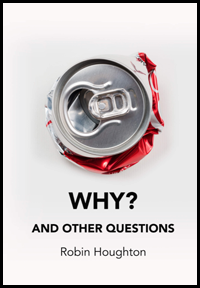 The jacket is white with a photo of a tin can with ring pull seen from the top. The can beneath the circular top is apparently squashed and the spilling out metal is red and silver. Looks like a can of coke. Below the the word WHY? plus question mark in large bold black caps centred. Below this, centred, in much smaller caps AND OTHER QUESTIONS. Below this centred, and much smaller lower case is the author's name.