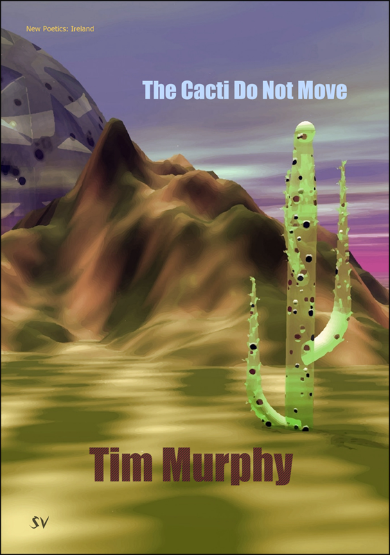 The jacket shows a full colour painting with a huge green cactus to the front left. Behind is what appears to be a mountain range, and behind this something large, circular and crystalline (like a sci fi edifice). The sky is blue and white streaked with purple. There are strange greeny streaks on the ground. The title of the pamphlet is in the sky. Fairly small pale blue sans serif lower case, justified right. The author's name is centred in dark purle at the foot of the jacket.