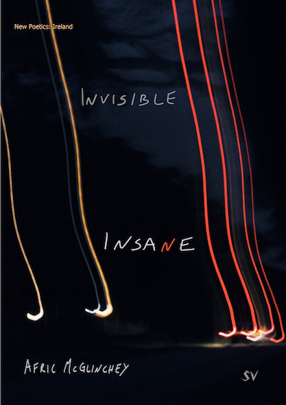 The jacket is black, with what looks like vertical trails of light streaking up from just above the bottom. The two words of the title are separated by several inches, and placed between the light streaks. The font is a kind of handwriting caps. The word INVISIBLE is white or grey. Pale, anyway. The word INSANE is slightly bigger, as though nearer, and much whiter so perhaps bold, and the letter N leans rakishly to the right. The second N is bright red. The author's name, in the same white caps but smaller, appears in the bottom band of the cover which is black.