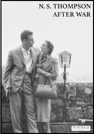 Black and white photo of a couple standing in a street with a lamppost. Top right, black capital lettering