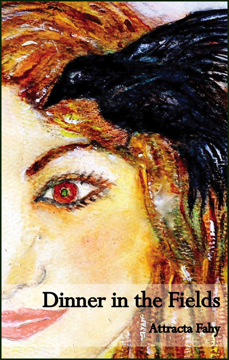 The jacket is richly coloured, almost filled with the painting of a girl's face-- we see one eye (a warm red eye!) and nose and mouth and golden flowing locks. Sitting in her hair, beak pointed towards her forehead, is a black bird. It doesn't look dangerous. The title is right justified near the bottom of the jacket (just above the girl's mouth) in large black lower case letters. The author's name, very much smaller, is right justified below this.