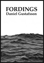 The jacket is half occupied by a photographic image of a grey sea, and the other half white sky, in which the title, in large black caps is centred, with the name of the author in black lowercase (but exactly the same width) just below.