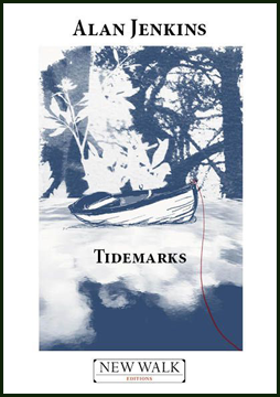 The jacket is white, or at least has a broad white frame around a central image, which is a blue-washed (the only colour) picture of a small boat lying somewhere, beached, but possibly at the edge of water. It's unclear because the whole picture is blurry. Behind the boat trees and branches, but some white foliage superimposed. The author's name is the largest text and appears centred in the top white band, above the picture. The pamphlet title is centred below the boat, but in the middle of the picture. At the very bottom, in the white area there is a New Walk logo. For text, the first letter of each word is a large cap, and the rest. The text is black, bold and seriffed.