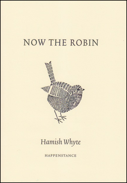Cream coloured jacket. Title centred in black caps top third. Below title a black and white robin made up of squiggly lines that could be individual letters. Below him the author's name, centred, lower case black italics.