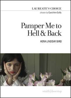 White jacket with a full colour photograph as a band in the lower half. The photo shows a girl to the left, head and shoulders, her head in her hands and a grim expression. To her right appear to be pinkish flowers. Ih the top half the book title is justified right in large lower case with the name of the poet below this in small caps.