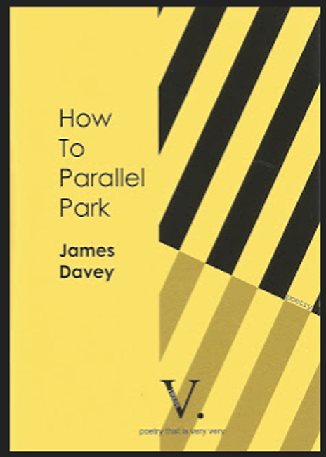 Bright yellow cover, with all lettering and design in black. Title and author's name in lower case to the left of the cover, which is a vertical yellow band occupying just half of the width. The band on the right is occupied with slanted lines, the top half black, the bottom half greyed.