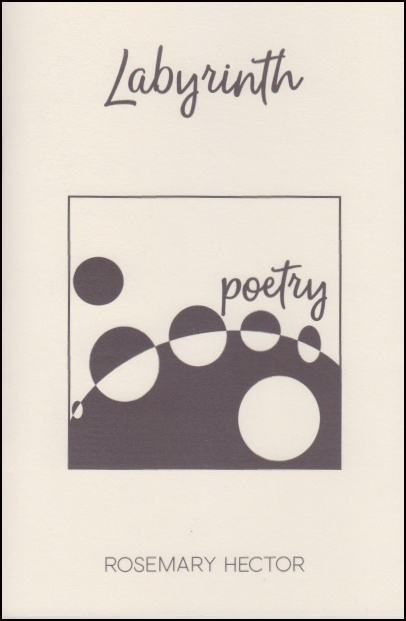 Cover is cream with black image and text. The title is in a handwriting script, fairly large and centred in the top quarter. In the middle of the page there is a large square with a design of black and white circles and the word 'poetry', also in a handwriting script. The same design is reproduced inside the pamphlet on every page top left and tiny, like a recurring logo or leitmotif. The author's name is in black small caps centred at the bottom of the jacket.