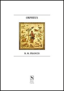 A white A5 oblong jacket. In the top half a full colour square illustration mimicking an ancient painting shwoing Orpheus with his lyre and all round him animals and birds.  Above the picture box, the title in bold, black, small caps. The author's name formatted similarly but very slightly smaller below the illustration. The logo for Lapwing Press (a lapwing in a box) appears very small and centred at the foot of the page.