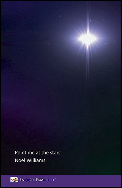 The pamphlet cover is dark purple shading to black, with a very bright white star light in the top right hand corner. Title and author's name are bottom left in white lower case. The bottom band of the cover, about half an inch, is a lighter purple and bears the publisher's imprint name in white.