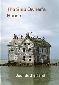 The full colour jacket features a large building, three storeys, apparently floating on a tiny raft of land. Sea birds are perched along the roofline and one the chimneys. The title of the collection is in the sky part of the picture, left justified in bold lower case print with a line break after 'Owner's'. The author's name is in bold white lower case centred in the bottom eighth of the picture and therefore in the sea.