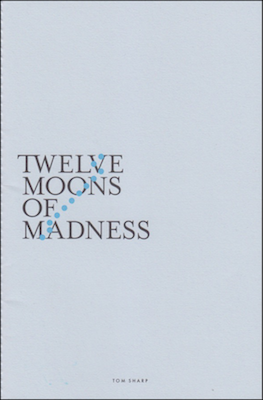 Pale blue cover. Positioned roughly in the middle is the title in large black caps and over four lines, each very close together TWELVE / MOONS / OF / MADNESS. Across and behind the title is a little line of circular shapes that could be blue moons. They are arranged a little like a constellation.