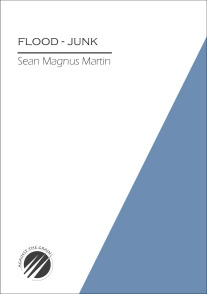The cover is divided diagonally with the largest triangle (white) to the left. On this the title of the pamphlet is in caps, and below this a bold black line, and below that the name of the author in lower case. Just under a third of the cover is a bright blue triangle -- bottom right hand corner, not quite reaching to the top.