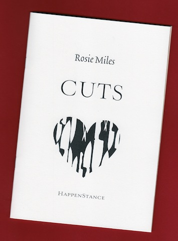 A photo of the pamphlet, on a red background and angled towards the right. The name of the author is centred, lower case in the top quarter. Below this in very large caps CUTS, the title of the collection. Below this is a large graphic of a heart shape, but this is made up of shapes of knives and blades, and scissors. Below this in small caps, HAPPENSTANCE.