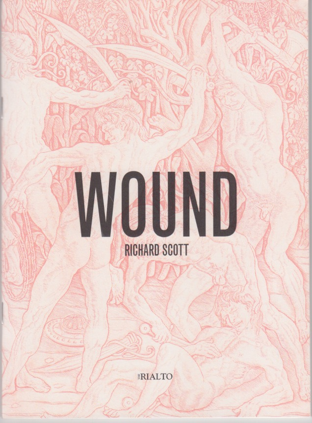 The cover of this pamphlet has the single word title WOUND in large black caps just below the centre. The name of the author, also in caps, is much much smaller beneath it, and hardly visible compared to the big WOUND word. Behind the text and covering the whole cover there is a relief scene of men apparently hacking at each other with swords. The men are naked. It could be a scene from a Roman bas relief perhaps, and it's white on red. Curious. Looks almost like pretty wallpaper until you look more closely and see it's a scene of great violence.